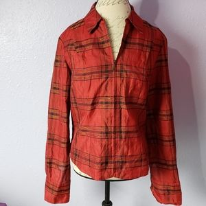 Coldwater Creek Zip Up Plaid Silk Blend Holiday